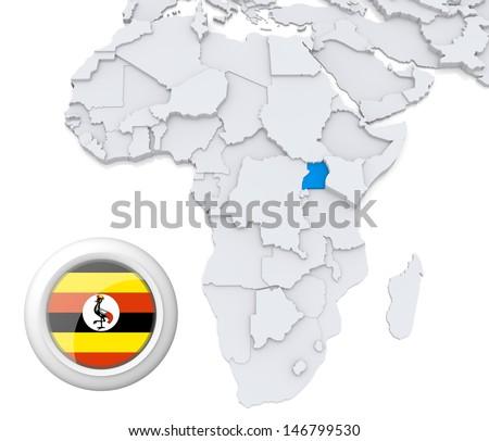 Uganda with national flag - stock photo