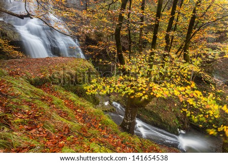 Uguna waterfall, Gorbea Natural Park, Bizkaia, Spain - stock photo