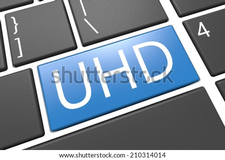 UHD - User Help Desk - keyboard 3d render illustration with word on blue key
