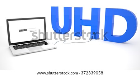 UHD - User Help Desk - laptop notebook computer connected to a word on white background. 3d render illustration.