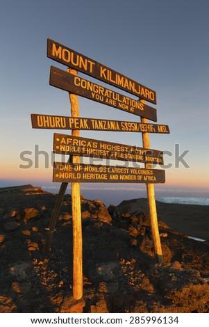Uhuru Peak (highest summit) on Mount Kilimanjaro in Tanzania, Africa. - stock photo