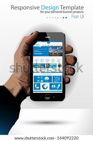 UI Flat Design Elements in a modern Smartphone ina hand: Original web template - stock photo