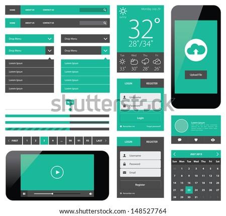 UI flat design web elements - stock photo