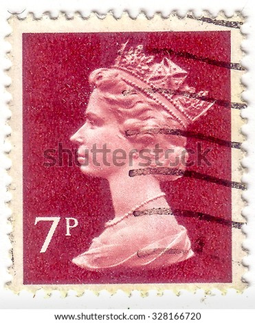 UK-CIRCA 1993: A stamp printed in UK shows image of Elizabeth II is the constitutional monarch of 16 sovereign states known as the Commonwealth realms, in violet, circa 1993. - stock photo