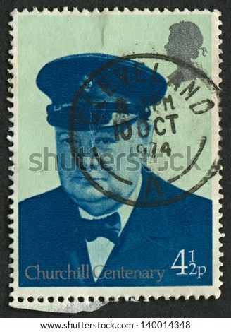 UK - CIRCA 1974: A stamp printed in UK shows image of the Churchill in Royal Yacht Squadron Uniform, circa 1974.