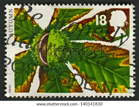 UK - CIRCA 1993: A stamp printed in UK shows image of the Horse Chestnut, circa 1993.