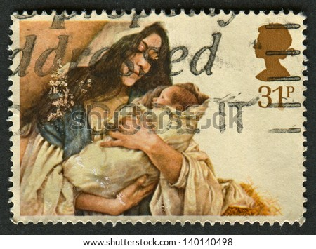 UK - CIRCA 1984: A stamp printed in UK shows image of the Virgin and Child, circa 1984.