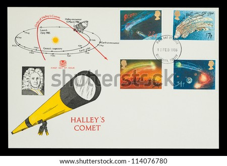 UK - CIRCA 1986: Commemorative First Day of Issue mail stamp set printed in the UK, featuring the orbit of Halleys Comet and Giotto spacecraft trajectory, circa 1986 - stock photo