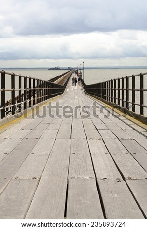 uk coastline southend pier essex  - stock photo