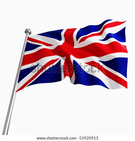 uk 3d flag on white background - stock photo