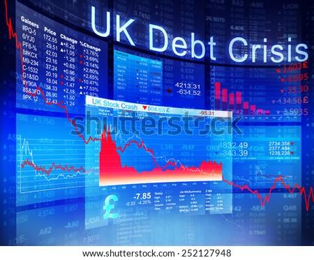 UK Debt Crisis Economic Stock Market Banking Concept - stock photo