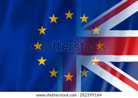 UK, EU flag concept. United Kingdom & European Union flags merged. - stock photo