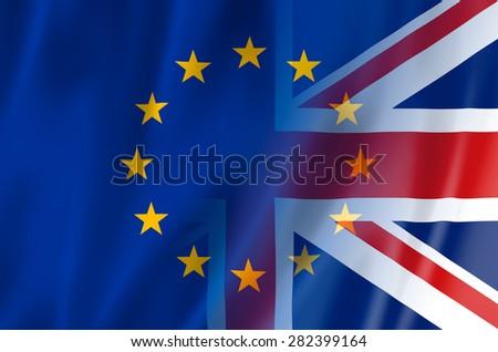 UK, EU flag concept. United Kingdom & European Union flags merged. - stock photo