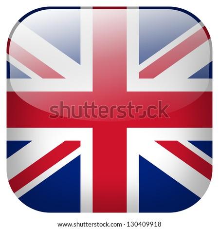 UK flag button - stock photo