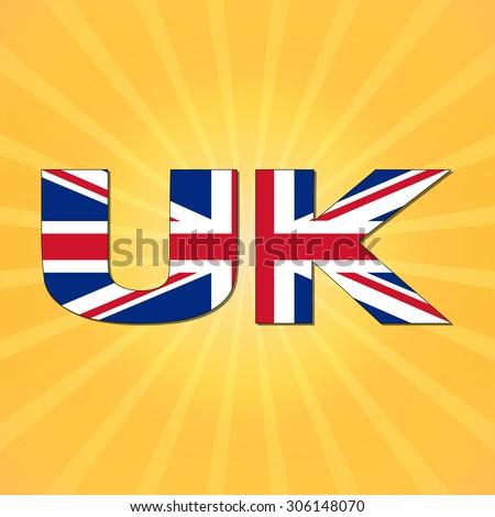 UK flag text with sunburst illustration - stock photo