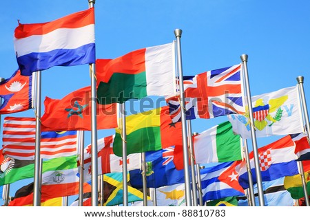 UK flags and national flags all over the world - stock photo