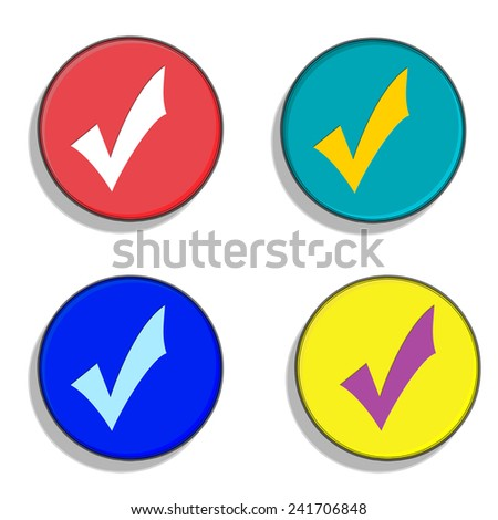 UK general election, democracy. Vote buttons for the four main parties - Conservatives, LibDems, Labour and UKIP. White background. - stock photo