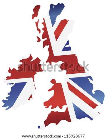 UK Great Britain Union Jack Flag in Map Silhouette Raster Vector Illustration