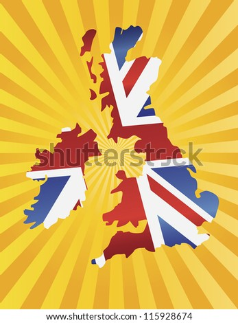 UK Great Britain Union Jack Flag in Map Silhouette with Sun Rays Background Raster Vector Illustration