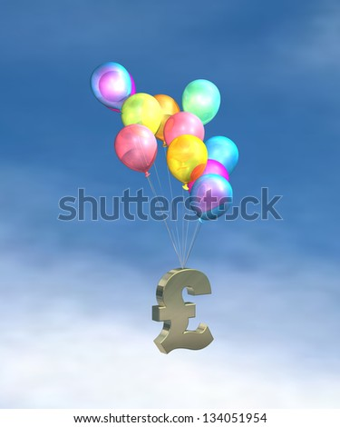 UK Inflation, rising prices, interest rates, tax rises on sky background - stock photo