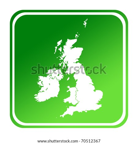 UK or England map button in gradient green; isolated on white background with clipping path.