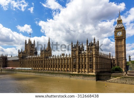 UK Parliament next to Thames river in London, England