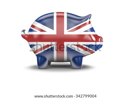 UK piggy bank / 3D render of piggy bank with British flag - stock photo