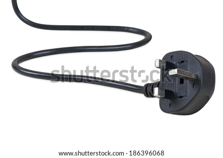 UK power plug isolated on white background with clipping path - stock photo