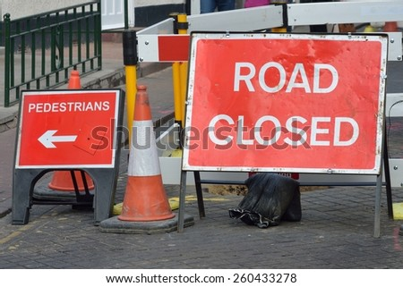 UK road closed sign - stock photo
