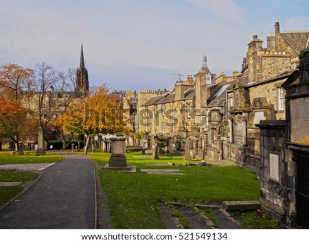 UK, Scotland, Edinburgh, Old Town, View of the Greyfriars Kirkyard.
