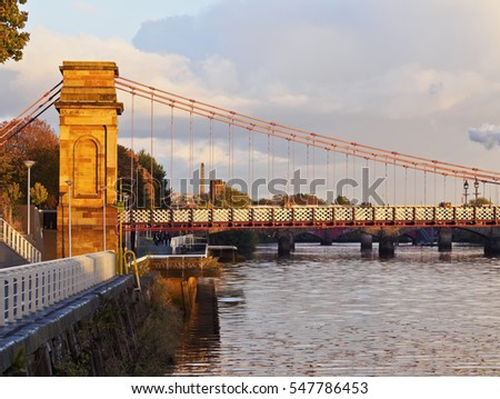 UK, Scotland, Glasgow, View of the River Clyde and the Glasgow Suspension Bridge.