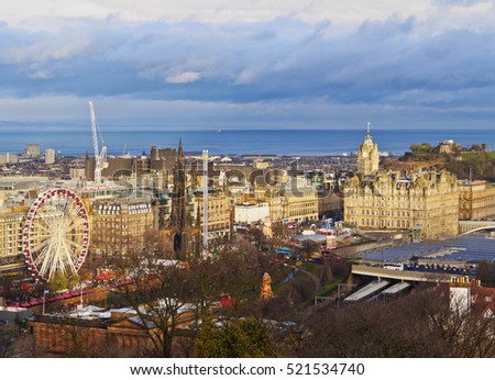 UK, Scotland, Lothian, Edinburgh, The Balmoral Hotel and Calton Hill viewed from the Edinburgh Castle.