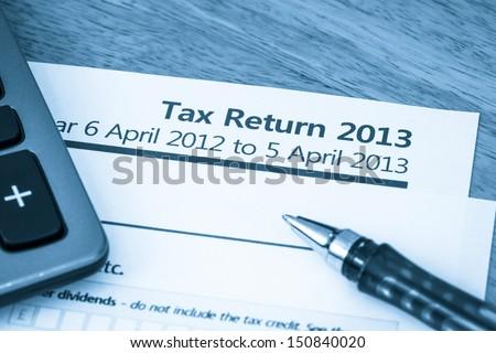UK tax return 2013 - stock photo
