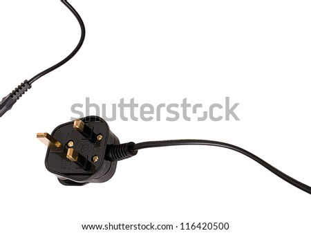 UK three pin electric plug and flex background, white - stock photo