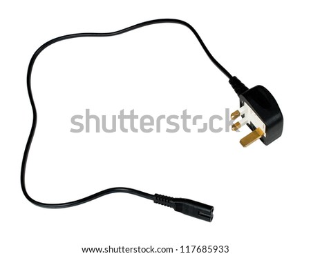 UK three pin plug and flex, isolated over white
