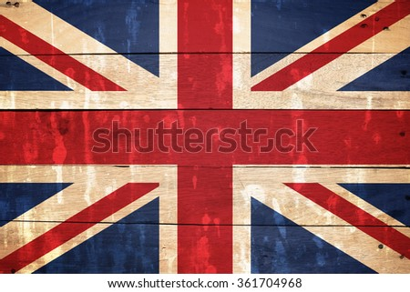UK, United Kingdom flag on old wood textured background,flag of the United Kingdom of Great Britain and Northern Ireland,commonly known as the Union Jack or Union Flag - stock photo