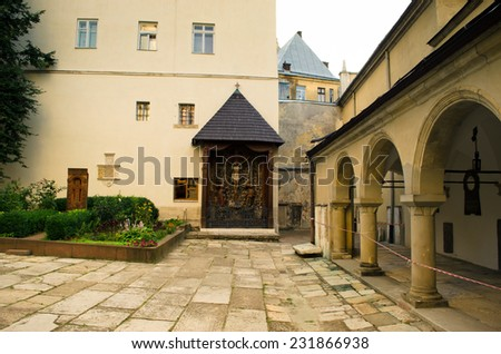 Ukraine attractions of L'vov historical temples-Armenian Cathedral - stock photo