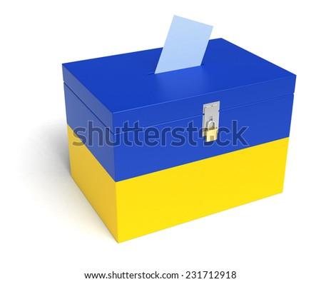 Ukraine ballot box with Ukrainian Flag. Isolated on white background. - stock photo