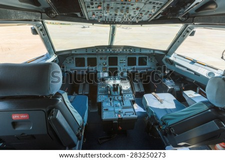 Ukraine, Borispol - MAY 22 : The interior of the plane cockpit on May 22, 2015 in Borispol, Ukraine