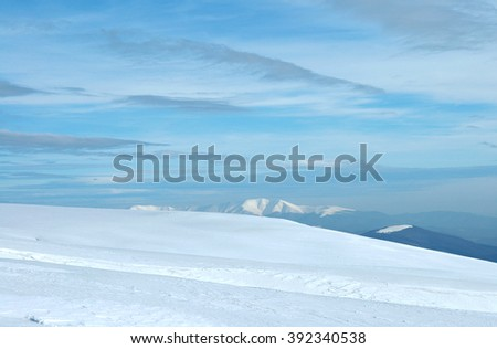 Ukraine, Carpathian Mountains, the ridge Polonyna Rune, winter