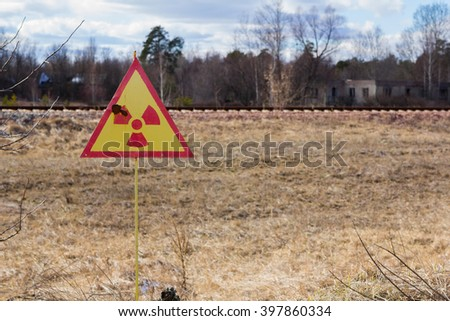 UKRAINE. Chernobyl Exclusion Zone. - 2016.03.19. Sign of radiation pollution near the Prypat - stock photo