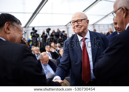 UKRAINE, CHERNOBYL - NOVEMBER 29, 2016: Chairman of Chernobyl Shelter Fund Hans Blix during the opening ceremony of the new protective shelter for the 4th reactor at Chernobyl nuclear power plant.