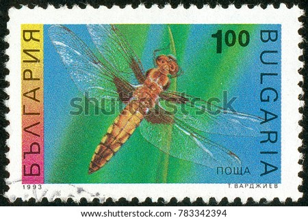 Ukraine - circa 2017: A postage stamp printed in Bulgaria shows drawing Four-spotted Chaser, Libellula quadrimaculata. Series: Insects. Circa 1993.
