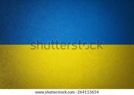Ukraine flag leather texture - stock photo