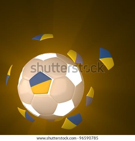 Ukraine flag on 3d football for Euro 2012 Group D - stock photo