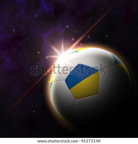 Ukraine flag on 3d football with rising sun illustration for Euro 2012 Group D - stock photo