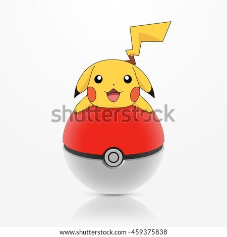 "Ukraine - July 27, 2016 : Illustration of Pikachu figure lying on pokeball, a famous Japanese cartoon character from Pokemon animation, or smartphone app ""Pokemon GO"". - stock photo"