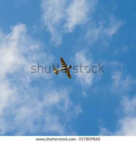 UKRAINE, KHARKIV -AUGUST 24: airplane in the sky  on Ukraine Independence Day in Kharkiv on August 24, 2015