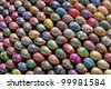 UKRAINE, KIEV - APRIL 12: The fragment 2 of the sphere sculpture of 3000 paint Easter eggs made by children and gifted to Kiev Pechersk Lavra on April 12, 2012 in Kiev, Ukraine - stock photo