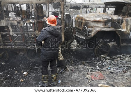 Ukraine, Kiev, 20 January 2014: a clash of radical Protestants Maidan right sector with riot police forces of Yanukovych in the street Grushevskogo - the conflict moved to the street fighting